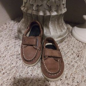 VGUC Baby  Boy Taupe Sperry Leather Boat Shoe
